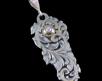 Art Nouveau Inspired Hand Engraved Sterling Pendant With Gold Inlay And Solid Australian Crystal Opal