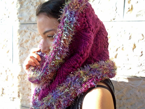 Thick Cowl Scarf Hood Plum Alpaca Mohair Wool for women hand knitted neck warmer fur eyelash yarn fluffy handknit warm winter bulky chunky