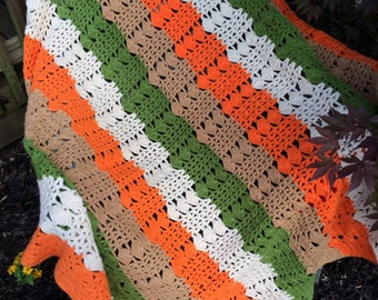 Vintage Avocado Green, Orange, and Cream Hand Crochet Afghan/Lap Throw