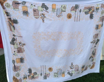 Vintage White Kitchen Print Tablecloth with Gold Flowers