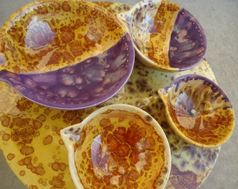 Cake Plate Pedestal and Four Matching Cups Glazed in Butternut Autumn Feathers and Plum Crazy