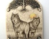 wolf pair tree sun wildlife Moosup wall plaque