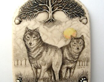 wolf pair tree sun wildlife Moosup wall plaque