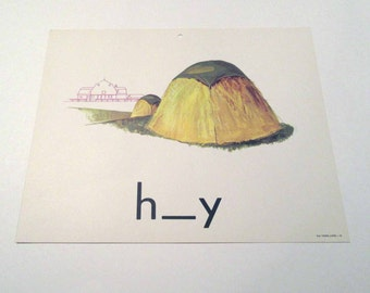 Vintage 1960s Children's Giant Sized School Flash Card with Picture and Word for Hay by Milton Bradley
