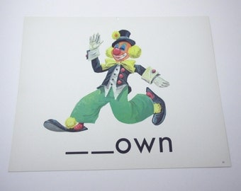 Vintage 1960s Children's Giant Sized School Flash Card with Picture and Word for Clown by Milton Bradley