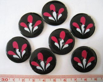 10 pcs of  Firework or Flower  Graphic Printed  Button - 25mm