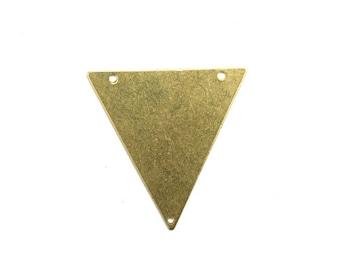 Charms Triangle Blank Geometric Raw Brass Pendant 3 Holes 32mm (6) CP201