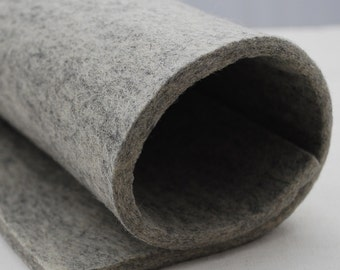 "100% Wool Felt Fabric - 1 Yard x 1/2 Yard (36"" x 18"") - 5mm Thick - Made in Western Europe - Natural Light Grey"