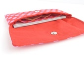 red checkbook cover womans cash envelope wallet. cute pink polka dot fabric coupon holder case. teen ladies
