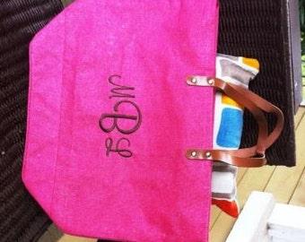Bubblegum Pink Monogrammed / Personalized Large Jute Tote Bag