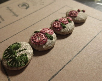 Raspberry Hollyhocks hand embroidered buttons