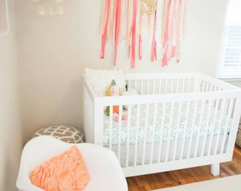 MINT QUATREFOIL Fitted Crib Sheet