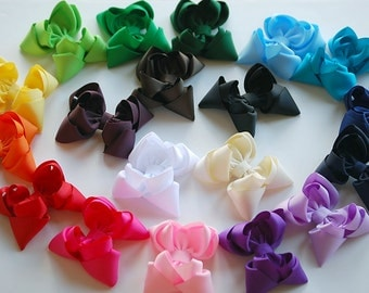 boutique set of 19 ALL YEAR double layered hair bow clips