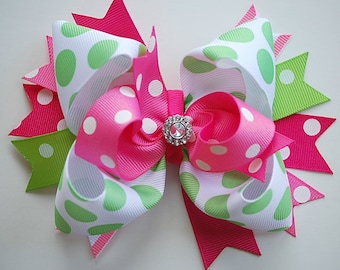 NEW glam over-the-top loopy layered shocking and hot PINK with lime green hair bow clip