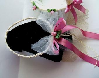 Headpiece, Handmade, Flower Girl, THE BALLERINA, Flowergirl,  Halo, Choose White or Ivory, Rosebud Color