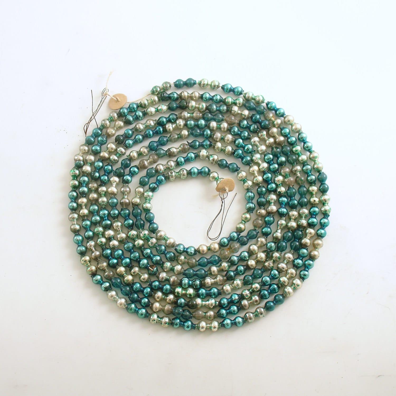 Vintage glass bead garland christmas tree decoration aqua