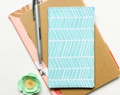 Aqua Herringbone Fabric Checkbook Cover