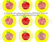 4x6 -  APPLE SCHOOL DESIGNS - Instant Download  - One Inch Bottlecap Graphics Digital Collage Image Sheet - No.964
