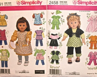 """Simplicity Patterns 2458 & 2761 For American Girl Type 18"""" Dolls  Vintage Style Aprons, Play Clothes  Lot F"""