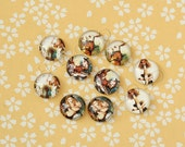 10pcs handmade assorted alice in wonderland round glass dome cabochons 12mm (12-0154)