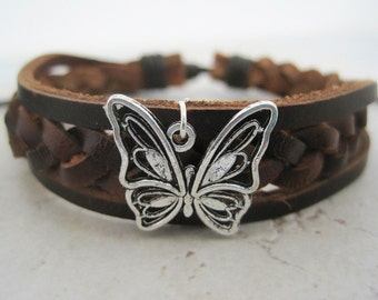 Lovely Silver Butterfly on Braided Leather Wrap Bracelet Cuff