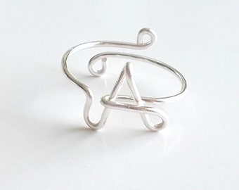 Ring, Wire Name Ring, Initial Ring, Word Ring, Personalized Ring, Wire Name Jewelry, Adjustable, Custom, Monogram, Handmade, Letter, Love