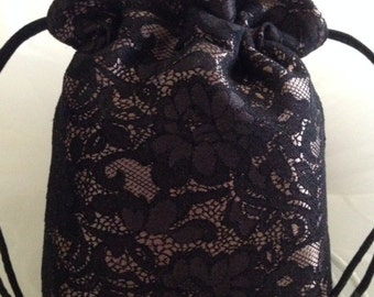 MINI Drawstring Bag, Black Lace on Champagne Satin, Birthday, Evening Bag or Special Occasion Accessory