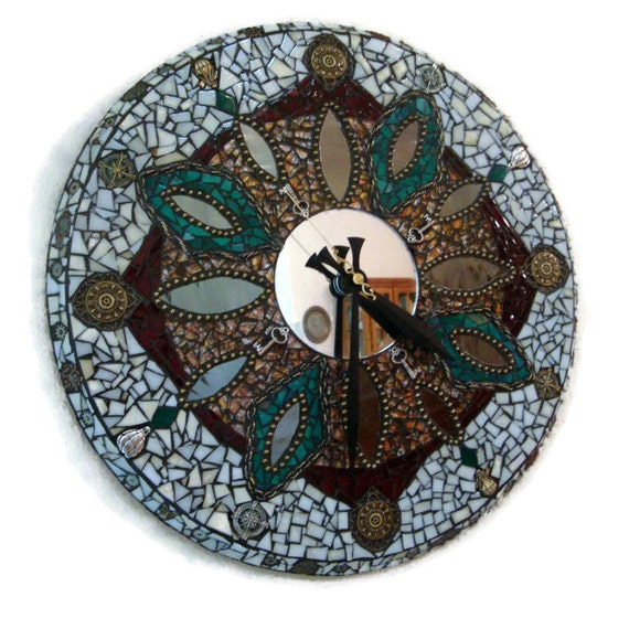 SteamPunk Clock Ooak Functional Art Original Mosaic Steam Punk