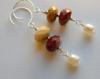 Faceted Mookaite, Freshwater Pearls, Sterling Ear Wires