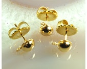 12 Brass Post earrings with nuts, round front brass earring findings