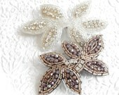 White silver barette, ponytail holder,embellished barrette, beaded barrette,hair accessory, fashion accessory