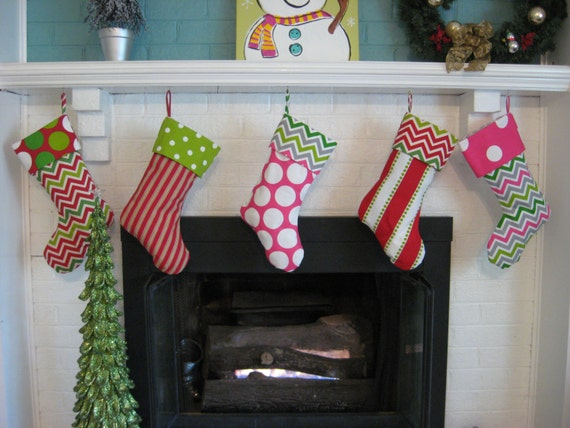 Christmas Stockings for the Family in Chevron - 4