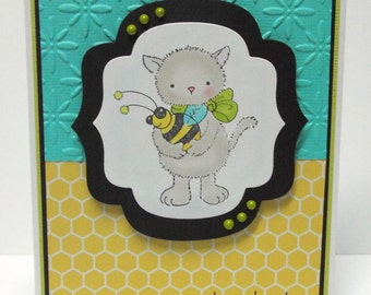 Happy Birthday Cat Card - blank