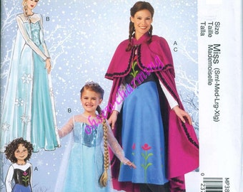 McCalls 7000 Frozen Costume Sewing Pattern Elsa Anna Womens Sizes S-M-L-XL