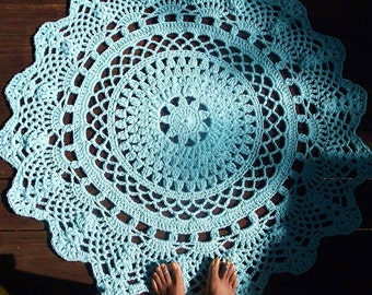 """Robins Egg Blue Cotton Crochet Rug in Large Circle 42""""  Pineapple Lacy Pattern"""