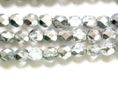 Czech Half Crystal Half Silver Faceted Glass Beads 6mm (30) czh024D