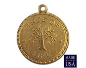 Raw Brass Tree of Life Charm Drop with Loop (1) chr190GG