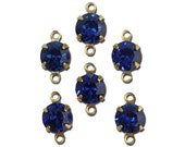 Vintage Montana Blue Faceted Glass Stone 2 Loop Gold Setting Drops 7mm (6) rnd017FF2