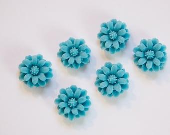 Vintage Style Matte Blue Flower Cabochon 12mm cab596G