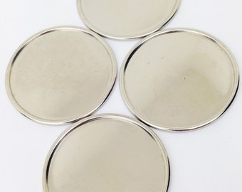 No Hole Silver Plated Flat Pad Setting 28mm (4) stn016D