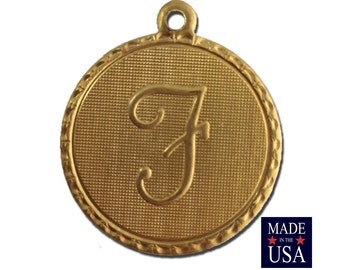 Raw Brass Letter F Initial Charm Drop with Loop (1) chr190F