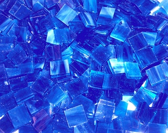 100 1/2 Inch Bright Blue Stained Glass Mosaic Tiles
