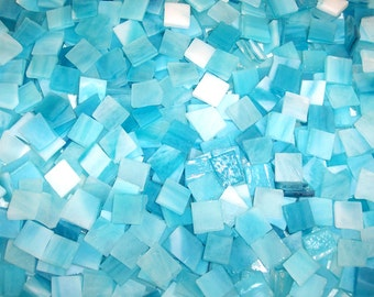 Mini Gulf Blue Tumbled Stained Glass Mosaic Tiles