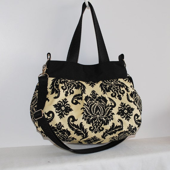 Cross Body Pleated Bag (SMALL or MEDIUM) w/ Adjustable Strap - Damask in Cavern