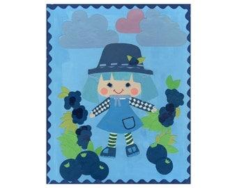 Blueberry Muffin Collage Art Print // Strawberry Shortcake Inspired Art