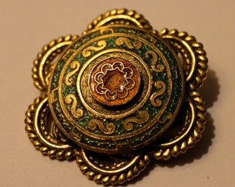 Vintage Freirich cloisonné and Filigree Brooch - French - Gold, Green, Orange - Circa 1960s