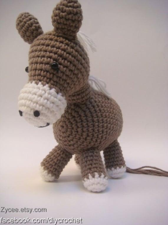 Wie Amigurumi Zusammennahen : ahnliche Artikel wie Braun Esel Pferd Amigurumi, Tier ...