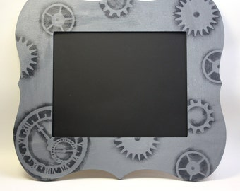 Large Chalkboard 8x10 Wood Frame Gray and Black Steampunk
