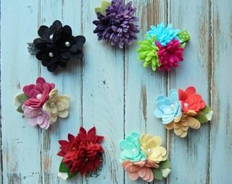 Wool Felt Flower Hair Clips - Your Choice