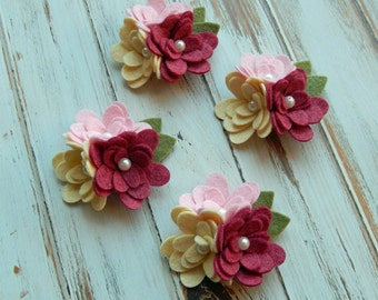 Wool Felt Mum Trios - Strawberry Cream Collection - Valentine Felt Flowers - 4 Trios with Leaves